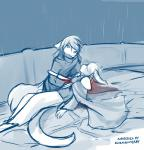 2018 anthro basitin blood blue_background canine cape clothing death duo female hair hair_over_eye hair_over_eyes hi_res keidran keith_keiser kneeling lying male mammal melee_weapon natani on_back outside raining robe sad simple_background sketch sword tom_fischbach twokinds weapon webcomic wet wolfRating: QuestionableScore: 7User: SomeInternetGuyDate: March 19, 2018