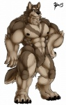 abs anthro biceps black_nipples blue_eyes brown_fur canine claws fur grey_fur looking_at_viewer male mammal maneater muscles nipples nude pecs plain_background pose smile solo standing tan_fur toe_claws white_background wolf   Rating: Safe  Score: 6  User: Der_Traubenfuchs  Date: February 19, 2013
