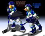 2015 anthro atlantic_puffin avian bird catmonkshiro dialogue duck duo hockey hockey_puck ice ice_skates male pheagle puffin transformation uniform   Rating: Safe  Score: 1  User: PheagleAdler  Date: February 02, 2015