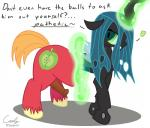 2015 animal_genitalia big_macintosh_(mlp) caely changeling equine female friendship_is_magic fur horse looking_at_viewer magic male mammal my_little_pony penis pony queen_chrysalis_(mlp) simple_background solo text transformation wings  Rating: Explicit Score: 6 User: Caely Date: September 27, 2015