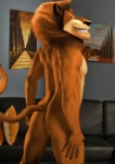 """alex_the_lion anthro anthrofied back butt edit feline grin lion looking_at_viewer looking_back madagascar male mammal muscles nude oystercatcher7 painting pecs photo_background photo_manipulation photomorph pillow rear_view sofa solo standing teeth  Rating: Questionable Score: 15 User: oystercatcher23 Date: May 30, 2015"""""""