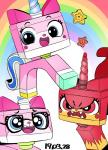 2017 angry blue_eyes cat cute equine eyewear fangs feline female glasses horn hybrid mammal nekubi open_mouth open_smile rainbow red_eyes smile star the_lego_movie unicorn unikitty