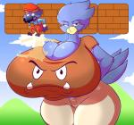2015 anthro avian big_breasts bird breasts busty_bird cleavage clothed clothing cosplay duo female goomba huge_breasts humor hyper hyper_breasts jaeh jumping male mario mario_bros nintendo unamused video_games  Rating: Safe Score: 12 User: Robinebra Date: June 17, 2015