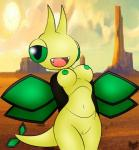 anthro anthrofied areola arthropod breasts desert dragonfly fangs female green_eyes green_nipples hi_res horn insect navel nintendo nipples non-mammal_breasts open_mouth outside pokémon pokémorph pussy smile solo teeth vibrava video_games watermark wings zinzoa