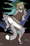 "2015 blonde_hair clitoris clitoris_piercing clothing condom feline female genital_piercing hair hammock leopard looking_at_viewer mammal outside piercing pussy pussy_piercing rhari skirt snow_leopard solo spread_legs spreading upskirt  Rating: Explicit Score: 18 User: TonyLemur Date: June 15, 2015"""