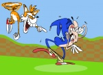 """animated anthro blue_hair butt canine clothing crying flying footwear fox fur hair hedgehog humor laugh male mammal miles_prower orange_fur running shoes sonic_(series) sonic_the_hedgehog tears unknown_artist  Rating: Questionable Score: 16 User: Robinebra Date: March 23, 2012"""""""