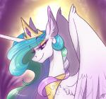 2015 crown equine famosity female friendship_is_magic horn jewelry mammal my_little_pony necklace princess_celestia_(mlp) probablyfakeblonde purple_theme solo winged_unicorn wings