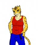 anthro big_muscles blue_eyes clothing feline male mammal morenatsu muscles plain_background smile solo tiger torahiko_ooshima  Rating: Safe Score: -1 User: Kod Date: June 25, 2015""
