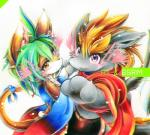 """black_fur cat comic doujinshi dragon feline fur green_hair hair kemono mammal mash_(artist) orange_eyes orange_fur purple_eyes yellow_fur  Rating: Safe Score: 0 User: KemonoLover96 Date: June 23, 2015"""""""