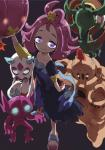 2016 acerola_(pokemon) clothed clothing dhelmise drifblim female froslass glowing glowing_eyes grey_background group hi_res human human_focus humanoid looking_at_viewer mammal nintendo palossand pokéball pokémon pokémon_(species) pokémon_trainer sableye simple_background video_games yamamoto_souichirou