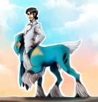 blue_fur clothed clothing coat cobalion fur hi_res hooves kelbremdusk legendary_pokémon looking_at_viewer male nintendo pokémon raised_leg solo taur video_games white_fur yellow_eyes