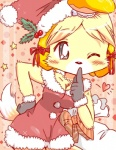 2014 <3 animal_crossing anthro blonde_hair blush breasts canine christmas clothed clothing dog female fur hair hat holidays isabelle_(animal_crossing) kemono mammal nintendo one_eye_closed pom_hat santa_hat shih_tzu solo video_games yellow_fur ノルー@しずえモンハン15日   Rating: Safe  Score: 7  User: slyroon  Date: May 26, 2015