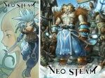 27:20 alien1452 blue_eyes blue_hair clothed clothing digital_media_(artwork) duo felid female glowing glowing_eyes hair human kyoungseok_oh magic male mammal melee_weapon multiple_images muscular muscular_male neosteam neo_steam pantherine solo steampunk stripes sword tiger topless warrior weapon
