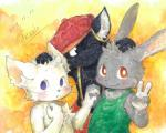 2011 black_eyes black_fur blue_eyes blush cat chest_tuft clothed clothing ear_piercing feline fur grey_fur group half-dressed hat kemono lagomorph looking_at_viewer male mammal one_eye_closed orange_background orange_eyes pants phthalo_cyanin piercing rabbit shirt simple_background smile suspenders tank_top topless tuft v_sign whiskers white_fur wink  Rating: Safe Score: 1 User: atatat Date: August 28, 2015