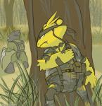 alpacapala ambiguous_gender arthropod bandanna black_fur camo duo electabuzz fangs fur grass headset insect mask metal_gear naked_snake nintendo outside pokémon scyther tree video_games war yellow_fur   Rating: Safe  Score: 4  User: DeltaFlame  Date: April 19, 2015