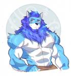 2018 abs absurd_res anthro biceps black_nose booboo34 canine clothing digital_media_(artwork) fur hair hi_res male mammal muscular muscular_male pecs simple_background solo wolf