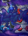 2015 absurd_res anthro bdsm berndem-bones blue_eyes blue_hair bondage bound breasts controller equine female friendship_is_magic glowing hair headset hi_res hooves horn long_hair lying magic mammal my_little_pony navel nintendo_64 nipples nude on_back open_mouth princess_luna_(mlp) pussy solo spread_legs spreading tongue tongue_out winged_unicorn wings   Rating: Explicit  Score: 23  User: lemongrab  Date: January 31, 2015