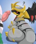 ? ambiguous_gender duo erection feral giratina giratina_(altered_form) hi_res legendary_pokémon male nintendo penis pokémon pokémon_(species) red_eyes regigigas type video_games wings