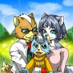 anthro black_nose blue_fur blue_hair brown_fur canine child cloud eyewear family father female fox fox_mccloud fur gem grass green_eyes group hair hug jacket jewelry krystal male mammal marcus_mccloud mother nintendo open_mouth parent scarf short_hair smile star_fox sunglasses unknown_artist video_games white_fur young   Rating: Safe  Score: 4  User: Cαnε751  Date: March 12, 2015
