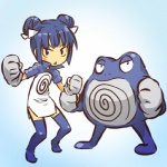 alternate_species blue_background blue_hair clothing cosplay double_buns duo female gloves gradient_background hair hitec human humanized legwear mammal mini_me moemon nintendo pokémon pokémon_(species) poliwrath simple_background standing thigh_highs video_games