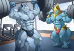 4_toes 5_fingers abs anthro anthrofied areola arm_tuft barazoku barefoot biceps big_biceps big_pecs bulge canine cel_shading clothed clothing digital_drawing_(artwork) digital_media_(artwork) dumbbell duo exercise eyes_closed fur gloves_(marking) grin gym holding_object huge_muscles humanoid_hands inside lifting maldu male male_focus mammal mane manectric manly markings mightyena mostly_nude multicolored_fur muscular navel nintendo nipples obliques pecs plantigrade pokémon pokémon_(species) pokémorph pubes quads smile socks_(marking) speedo standing sweat swimsuit teeth thick_thighs toes topless triceps two_tone_fur video_games weightlifting weights workout