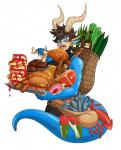 anthro bag belt blue_eyes blue_scales bottle brown_hair burger cephalopod cheese claws clothed clothing cucumber doughnut dragon drakthug ear_fins ear_piercing eating facial_piercing fangs female fin fish food fully_clothed gem gold_(metal) hair hi_res holding_food holding_object horn lip_piercing marine meat norael open_mouth pancake piercing sausage scales scalie shish_kebab short_hair simple_background slit_pupils solo squid steak vegetable white_backgroundRating: SafeScore: 6User: PeekabooDate: November 17, 2014
