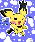 female mammal nintendo nude one_eye_closed pichu pokémon rodent solo spiky-eared_pichu unknown_artist video_games wink young