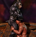 2012 3d abs anthro biceps big_muscles black_howler canine cgi deep_throat digital_media_(artwork) duo erection fangs fellatio forced forced_oral human human_on_anthro interspecies male male/male mammal muscles nipples nude oral pecs penis sex were werewolf  Rating: Explicit Score: 23 User: furmann Date: December 15, 2012