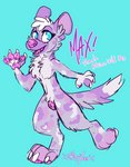 african_wild_dog anthro canid canine canis english_text female fortune fur genitals hi_res mammal pawpads paws purple_body purple_fur shittyeen skittles spots text tongue what