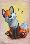 2011 ambiguous_gender canine cute eosfoxx feral fox mammal musical_note singing solo warm_colors whistling