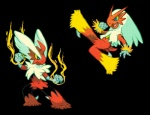 2014 ambiguous_gender avian bird blaziken blue_eyes cuteskitty duo fire horn mega_blaziken mega_evolution nintendo open_mouth pokémon red_feathers tan_feathers tongue video_games yellow_sclera   Rating: Safe  Score: 2  User: DeltaFlame  Date: February 13, 2015