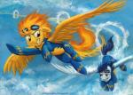 2014 blonde_hair blue_hair brown_eyes cloud duo equine eyewear female flying friendship_is_magic goggles green_eyes hair male mammal my_little_pony orange_hair outside overalls pegasus skinsuit sky soarin_(mlp) sophiecabra spitfire_(mlp) tess_garman wings wonderbolts_(mlp)   Rating: Safe  Score: 3  User: 2DUK  Date: July 09, 2014