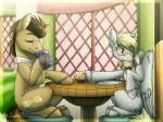 2015 blonde_hair blush brown_hair cup cutie_mark derpy_hooves_(mlp) doctor_whooves_(mlp) drinking eating equine female food friendship_is_magic hair horse inuhoshi-to-darkpen mammal muffin my_little_pony outside pegasus plate pony sitting table tardis wings yellow_eyes  Rating: Safe Score: 9 User: 2DUK Date: July 24, 2015