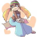"""<3 anthro bare_shoulders blonde_hair blue_eyes brown_fur clothing donkey_kong_(series) eyeshadow female footwear fur hair hat jewelry long_hair makeup mammal monkey nintendo pigtails primate sandals sitting solo tiny_kong toes unknown_artist video_games  Rating: Safe Score: 5 User: Cαnε751 Date: April 22, 2015"""""""