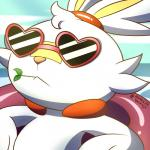 :< 1:1 2019 <3 ambiguous_gender anthro close-up eyewear face_focus fur glasses heart_glasses hi_res inner_tube lagomorph long_ears mammal messer-aramis nintendo pokémon pokémon_(species) relaxing scorbunny video_games water
