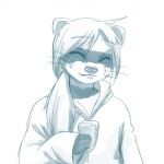 ambiguous_gender anthro clothed clothing eyes_closed food hair mammal monochrome raccoon simple_background solo standing uncomfortabledrawingfurries whiskers white_background white_hair  Rating: Safe Score: 1 User: Knotty_Curls Date: October 05, 2015