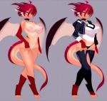 2013 anthro big_breasts breasts clothed clothing collar dragon female hair horn kanel looking_at_viewer model_sheet nipples nude panties pose red_hair short_hair skimpy solo standing stockings underwear wings   Rating: Questionable  Score: 38  User: Recursion  Date: December 06, 2013