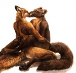 2015 ambiguous_gender anthro canine duo eyes_closed fox fur kenket kissing kneeling male male/male mammal marten mustelid nude open_mouth paws pine_marten plain_background tongue white_background   Rating: Questionable  Score: 8  User: skulblakka  Date: April 21, 2015