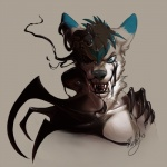 2013 anthro black_hair black_nose blue_eyes canine creepy dark fangs fur goo grey_fur hair looking_at_viewer male mammal neltruin open_mouth scary simple_background solo teeth wolf