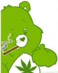 <3 ambiguous_gender anthro care_bears cigarette drugs marijuana one_eye_closed pot_leaf simple_background smoke smoking solo thumbs_up tummy_symbol unknown_artist white_background wink