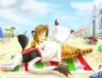 2014 anthro back beach bikini brown_hair builds cat cloud feline female fur galo hair iskra male mammal open_mouth pawpads paws sand seaside sky smile swimsuit tiger towel water   Rating: Safe  Score: 2  User: Galo  Date: April 18, 2014