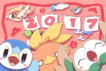 2017 avian bird blue_eyes blush eyes_closed feral flower group latias latios legendary_pokémon nettsuu nintendo open_mouth paper pidgeot pidove piplup plant pokémon rowlet simple_background swablu tongue torchic video_games wings xatu