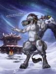 anthro bovine breasts cattle dialogue english_text female hi_res karukuji looking_at_viewer mammal nipples nude pussy snow solo tauren text video_games warcraft weapon  Rating: Explicit Score: 36 User: ippiki_ookami Date: March 17, 2016