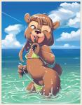 2018 ambrosia anthro beach bear brown_fur brown_hair bulletsoup claws clothed clothing cub female flat_chested fur hair loli mammal nipples outside rb seaside smile solo swimsuit water young