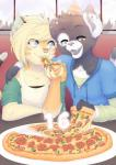 anthro clothed clothing duo feline female food fur hair inside male mammal open_mouth pizza sitting smile yuxareRating: SafeScore: 2User: Cat-in-FlightDate: October 21, 2016