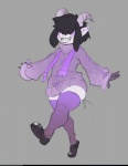 anthro black_hair clothing female grey_background hair hair_over_eyes horn legwear pointy_ears simple_background solo sweater thick_thighs thigh_highs unknown_artist wide_hipsRating: SafeScore: 2User: NujiDate: May 15, 2017