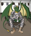 2006 army boots camo clothed clothing dragon footwear front_view fully_clothed jinx_(artist) looking_at_viewer male military scalie sitting solo uniform united_states_of_america us_army western_dragon wings  Rating: Safe Score: 7 User: drag0ne2 Date: July 22, 2014""