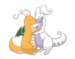 ambiguous_gender couple cute dragon dragonite duo goodra love nintendo orange_skin pokémon scalie simple_background unknown_artist video_games white_background  Rating: Safe Score: 4 User: YLYL Date: June 14, 2015