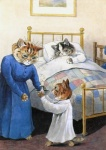 age_difference ambiguous_gender barefoot bed brown_fur candle cat clothed clothing cub detailed_background eyes_closed feline fur grey_fur group holding inside license_info louis_wain lying mammal on_bed painting pillow public_domain semi-anthro signature sleeping standing traditional_media_(artwork) whiskers young  Rating: Safe Score: 1 User: purple.beastie Date: October 08, 2015