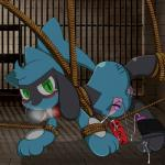 bdsm blush bondage bound canine collar cum cum_on_leg cumshot dildo drooling green_eyes hanging male mammal nintendo orgasm panting pokémon riolu rope saliva sex_toy solo vibrator video_games  Rating: Explicit Score: 4 User: JC75 Date: August 28, 2015